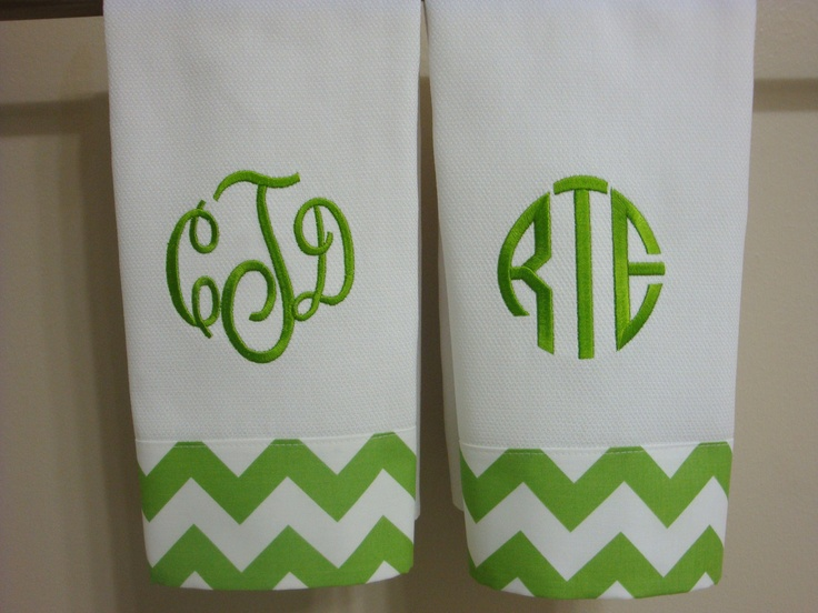 Chevron Green or Yellow Monogrammed Hand Towel or Kitchen Towel. $12.00, via Etsy.