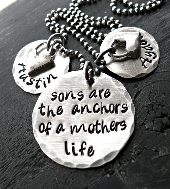 Hand Stamped Necklace - Personalized Necklace - Mother and Son Jewelry - Yourcharmedlife. $70.00, via Etsy.