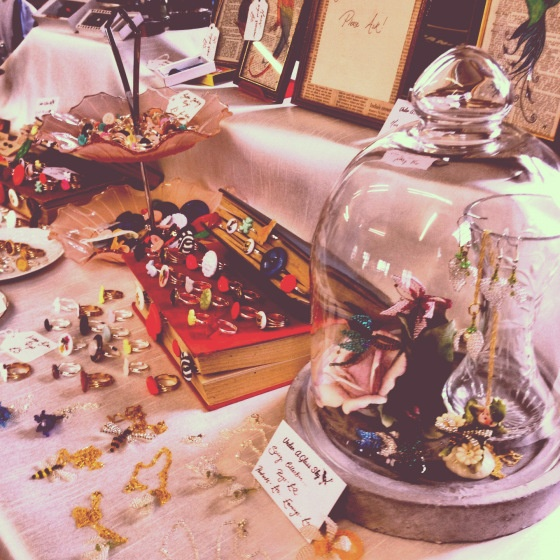 Craft Market Stall Display, Glass Cloche and Books