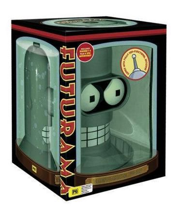 Futurama: Season 1-5 (Bender's Head).  Complete futurama boxset with room for season 6.  Plus 4 epic adventures: Bender's Big Scor, The beast With A Billion backs, Bender's game, Into The Wild Green Yonder.