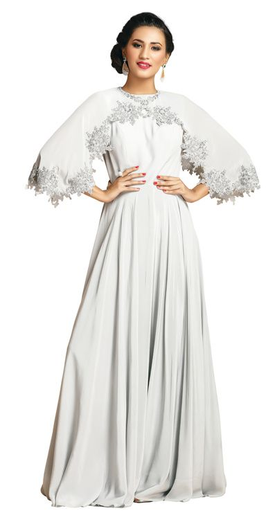 Cocktail Gowns - Ivory Cocktail Gown with Open Cape Cut-Out Sleeves | WedMeGood #indianbride #indianweddings #white #ivory #gown #cocktailgown #cape #