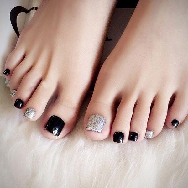 Hot Selling 24 Pcs Set 3d False Toe Full Nail Tips With Glue Lady Girl Toe Art Nails Tool Fake Foot Toenails Wish In 2020 Pretty Toe Nails Toe Nails Cute Toe Nails