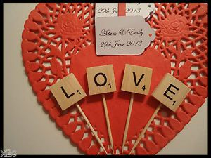 Wooden Scrabble Letters Love CUP Cake Wedding Cake Topper Engagement Party | eBay