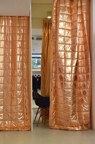 tryharderpants insane copper padded quilted metallic curtains!!!