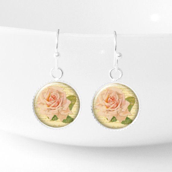 Rose Dangle Earings Vintage Style Flower Earrings от petiteVanilla