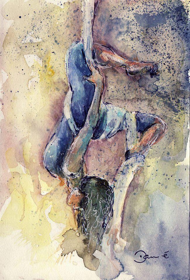 Watercolor aerialist on silk.