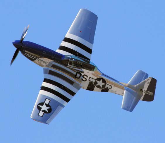 US P-51 Mustang, in service during WWII and the Korean War. Notice the…: