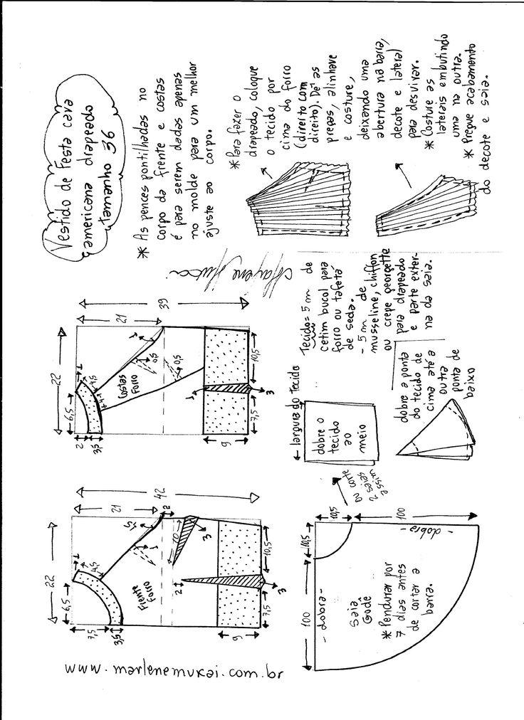 Esquema de modelagem de Vestido de festa cava americana tamanho 36.