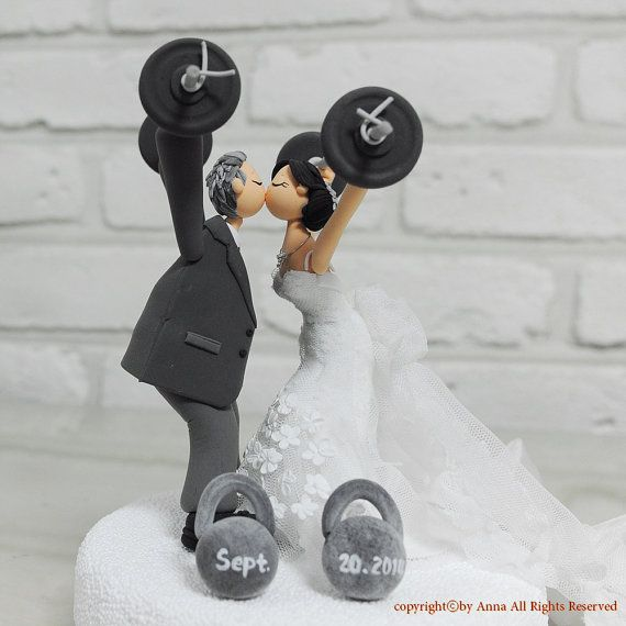fitness themed wedding cake topper custom cake topper weight lifting theme personalized 14303