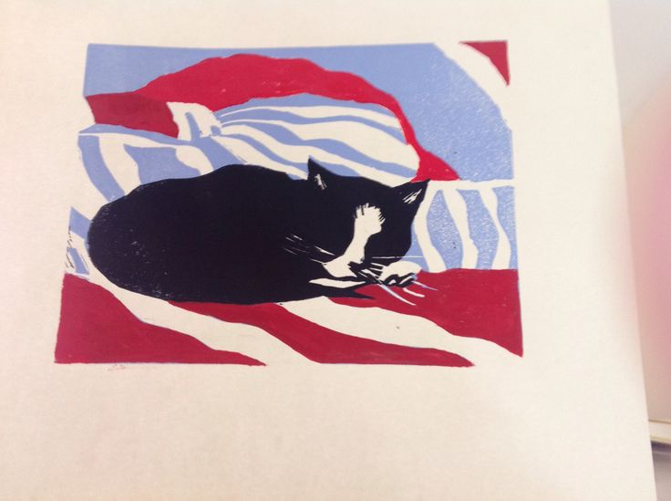 Linocut cat reduction method