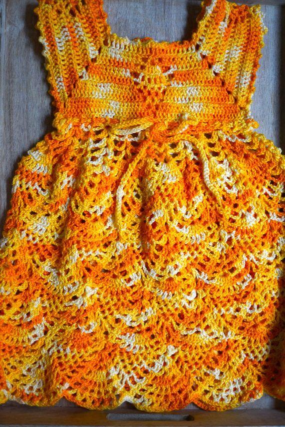 Crochet Baby Girl Dress Yellow Dress Crochet Dress by OrganicKidz