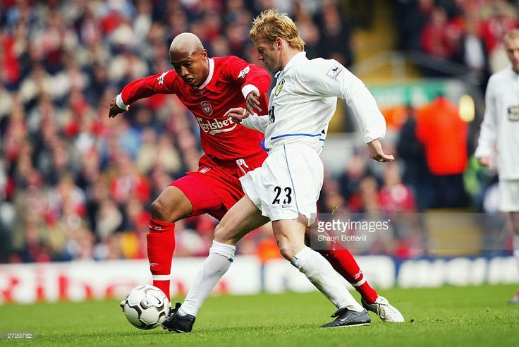 El Hadji Diouf of Liverpool and David Batty of Leeds United tussle for the ball during the FA Barclaycard Premiership match between Liverpool and Leeds on October 25, 2003 at Anfield in Liverpool, England. Liverpool won the match 3-1.