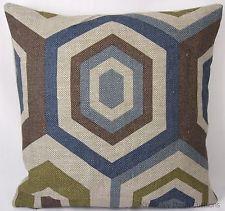 "16x16"" Blue Brown Green Hexagon Tile Linen Fabric Scatter Pillow Cushion Cover"