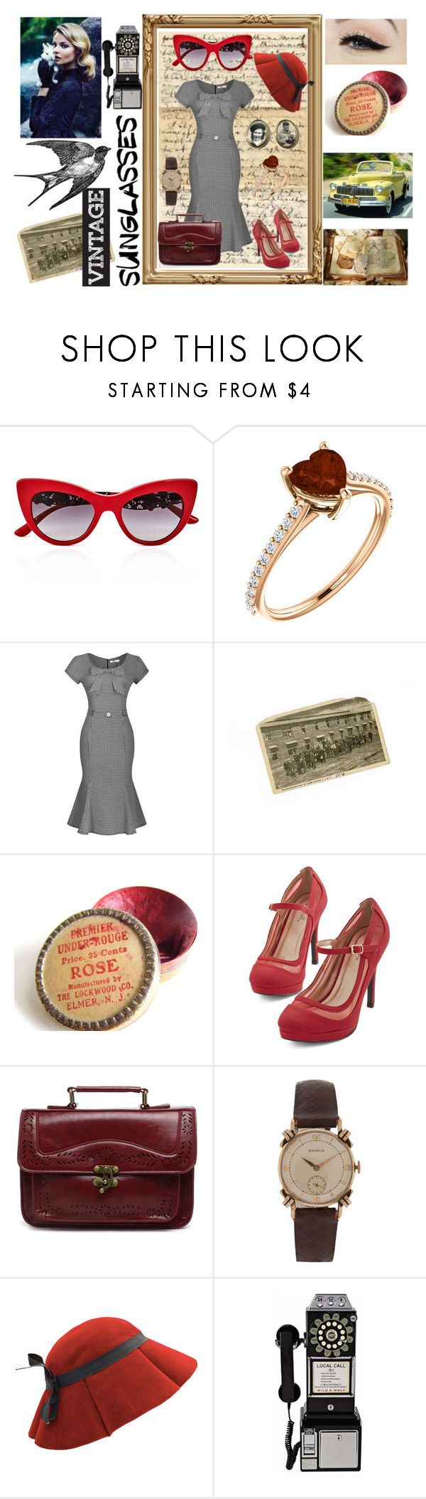 """Vintage Sunglasses"" by emily-dickson-1 ❤ liked on Polyvore featuring Dolce&Gabbana, Anatomy Of, Chicwish, Lilly Daché, Wild & Wolf, vintage and 1950"