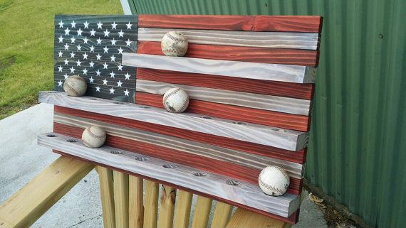 American flag baseball display by RozmanWoodDesign on Etsy                                                                                                                                                      More