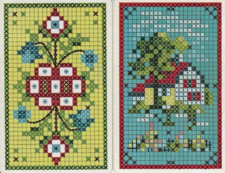 Vintage Swap/Playing Cards - 1 Pair - CROSS STITCH COTTAGE DESIGN | eBay