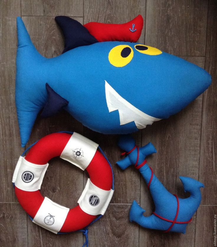 """Купить Подушка """"Акула"""" - комбинированный, декоративная подушка, морской стиль, морская тема, детская комната"""