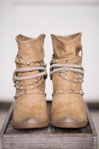 Enchanted Embellished Heeled Booties (Tan) - NanaMacs.com - 1