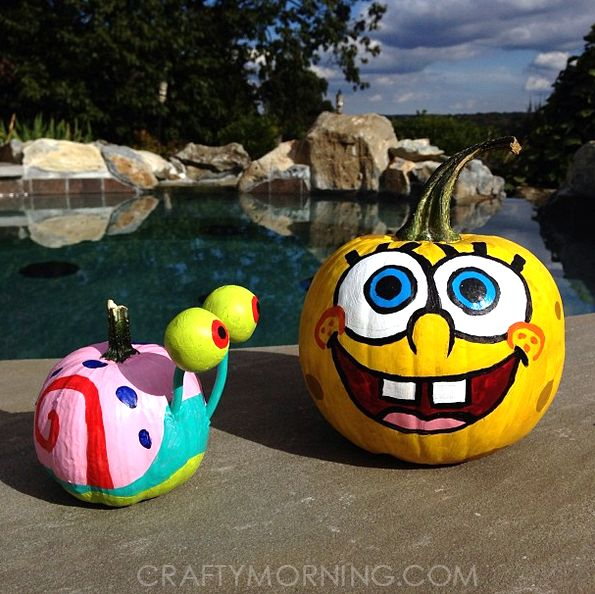 SpongeBob and gary the snail pumpkins! Clever No Carve/Painted Pumpkin Ideas for Kids