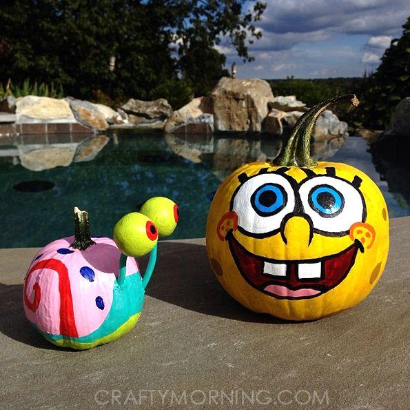 SpongeBob and gary the snail pumpkins! Clever No Carve/Painted Pumpkin Ideas for Kids