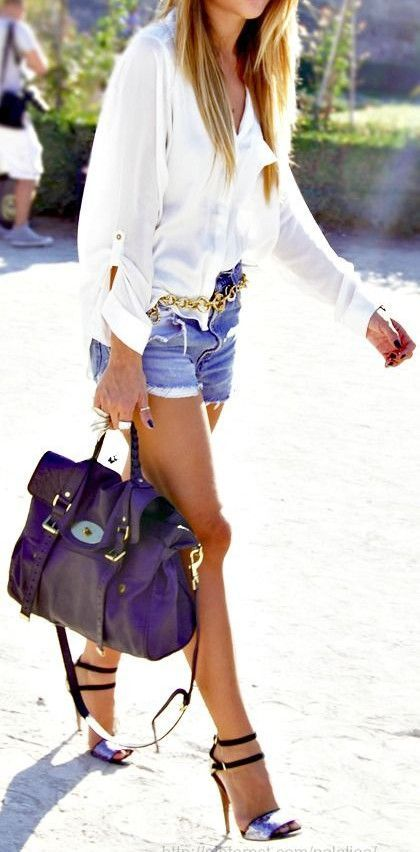 Summer fashion / blue shorts   white shirt
