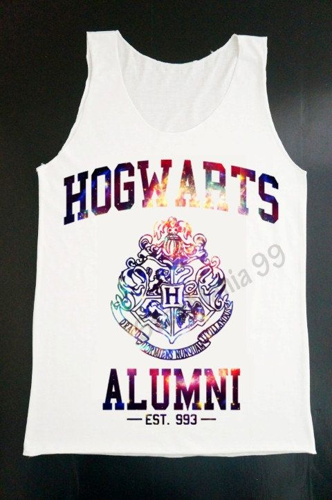 Hogwarts Alumni Galaxy Tank Top Harry Potter Tank Movie Tank Top Women White T Shirt Tunic Top Vest Sleeveless Women T-Shirt Size S