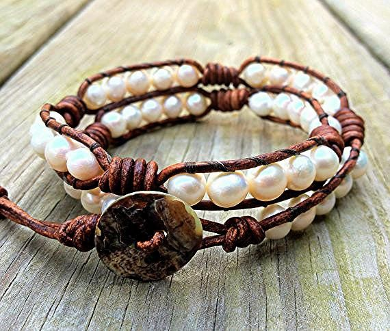 White Freshwater Pearl Leather Wrap Bracelet Ships by DESIGNbyANCE, $34.00
