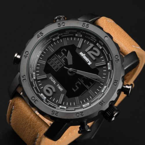 Infantry Mens Chrono Digital Quartz Watch Police Design Brown Leather Sport Army