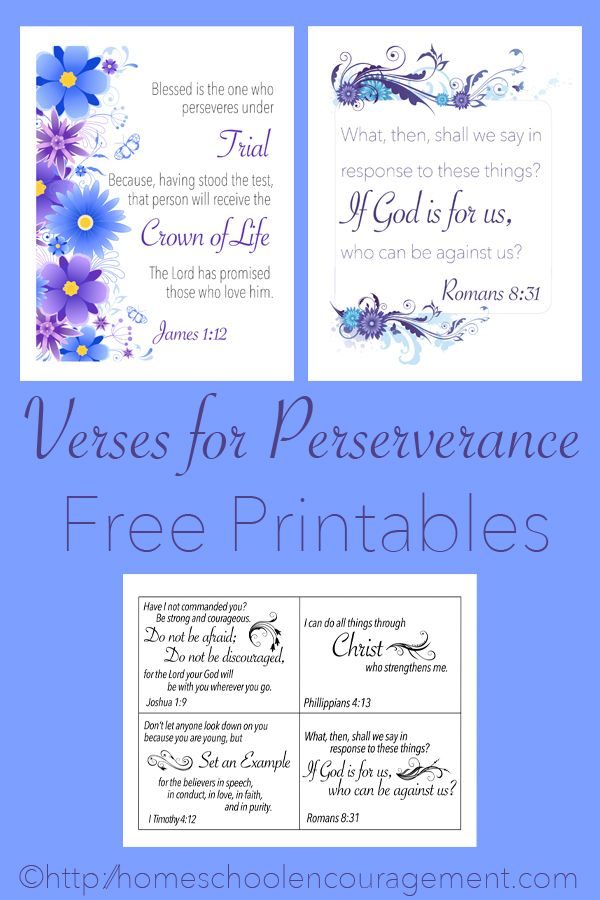 Verses for Perseverance - Free Printables - Scripture Cards and Posters