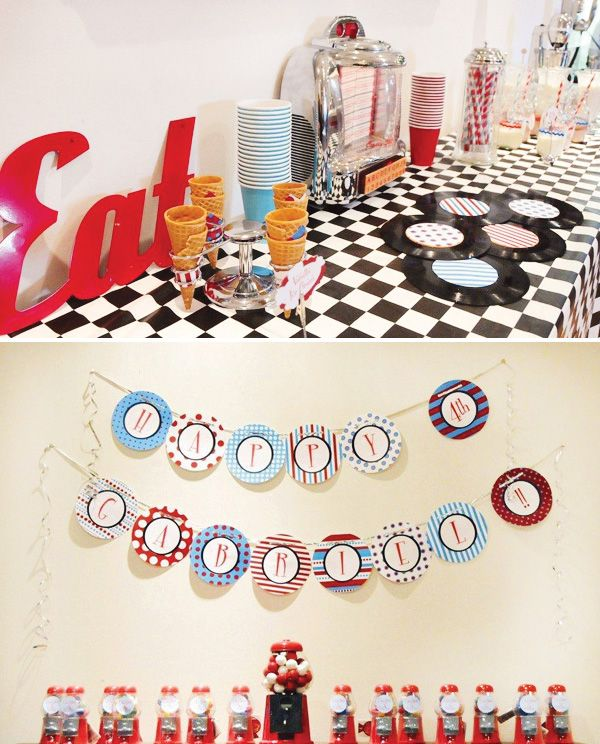 24 best elvis party images on pinterest birthday party for 1950s party decoration