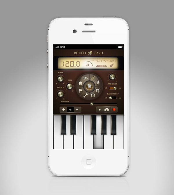 Rocket Piano UI design & concept for app. by Isabel Aracama, via Behance