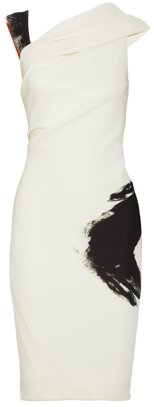 Donna Karan cream dress. Heavyweight stretch-jersey. Asymmetric draping and gathering, abstract black and red print. Fully lined. Concealed hook and zip fastening at back. 92% nylon, 8% elastane; lining: 92% rayon, 8% elastane. Dry clean.