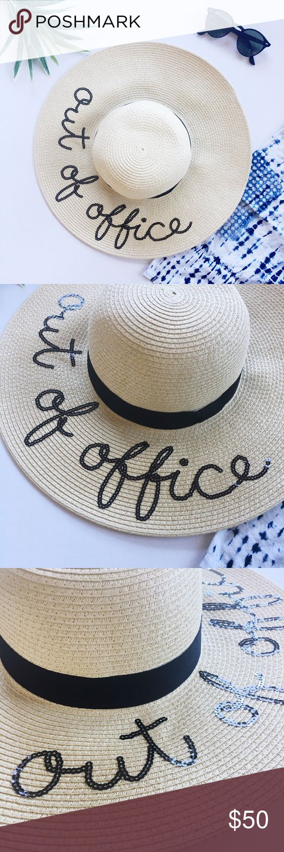Out of Office Sequin Message Sun Beach Hat Going on a warm vacation? You NEED this sun hat! Black sequin lettering with black band trim. The materials is pretty forgiving and can be pressed into a suitcase without damaging the shape. One size. So perfect for pool or beachside photos! Also selling a few other sayings in my closet! Accessories Hats
