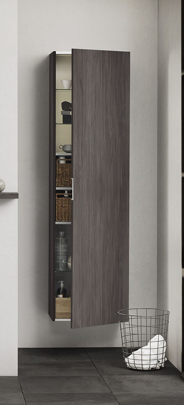 Tall unit with full-length decor front. Also available with mirror front.