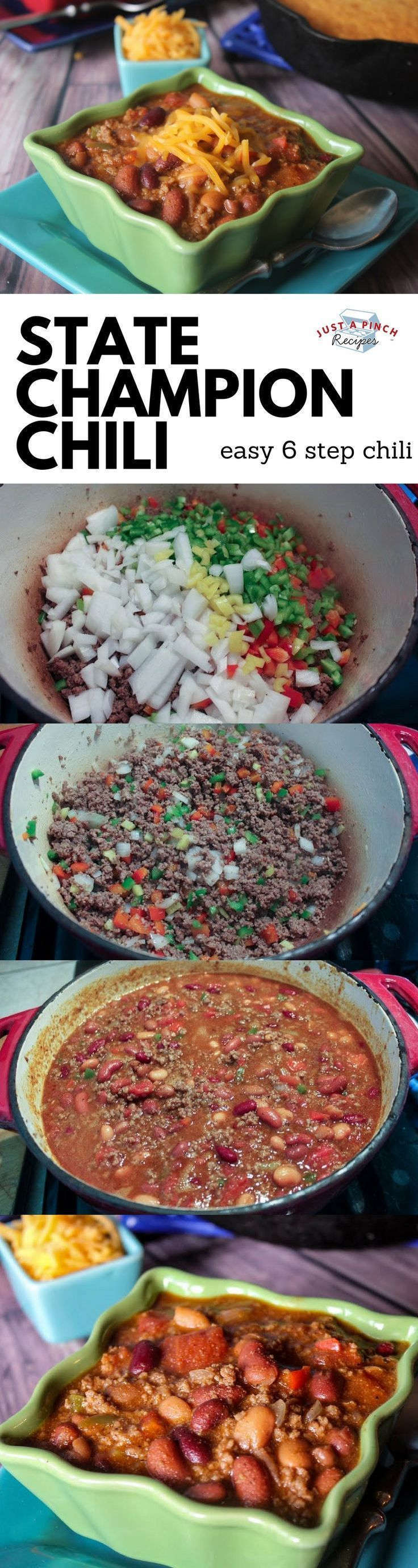 Easy 6 step chili that is hearty and delicious! The best chili recipe ever! #easyrecipe #easydinner #chili #comfortfood