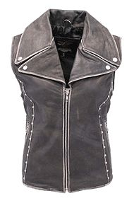 Rivet Stud Trim Vintage Brown Motorcycle Leather Zip Vest for Women