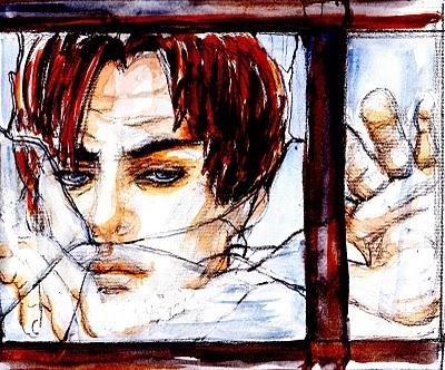 """""""La realtà fuori da qui"""".    Solo, tra queste stanze che conosco a menadito, mi intrattengo con i pensieri di sempre mentre cerco di trovare una forma diversa alle mie giornate. Viene una donna ogni giorno per un paio d'ore, mi porta qualcosa per pranzo, si occupa della mia casa. Il resto del tempo per me è composto da luci basse, silenzio, piccoli spostamenti dentro l'appartamento.... (di Bruno Magnolfi - illustrazione di Giulia Tesoro)."""