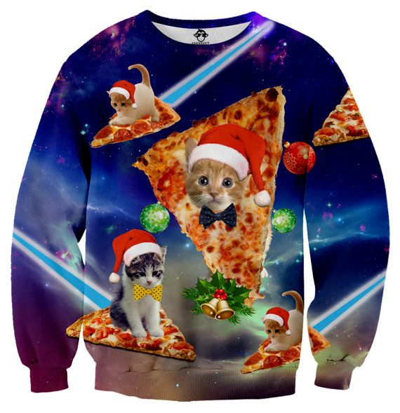 Kooky Kool! » Christmas Cats & Pizza Ugly Christmas Sweater » by shweeet on etsy.com