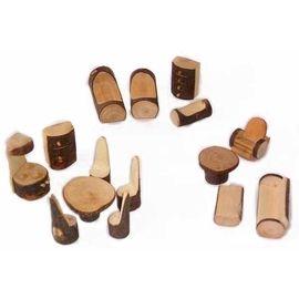 Puppenhaus Möbel Rindenmöbel Set Öko Spielzeug Holzspielzeug