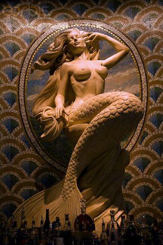 USA - Las Vegas - Tourism - Caesar's Palace Casino - Mermaid A mermaid sculpture adorns the bar at Caesar's Palace Hotel and Cas...