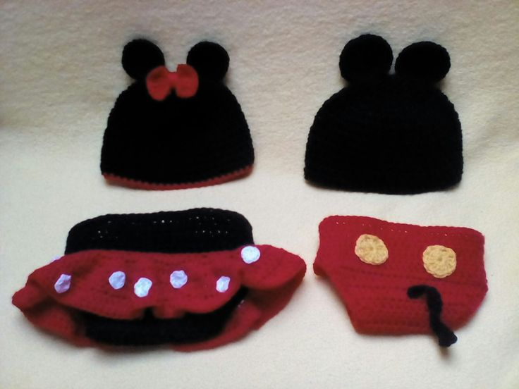 Newborn crochet mickey mouse and minie mouse