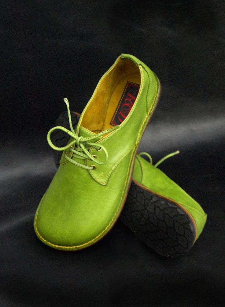 A Pair of Lime Green Hand-made Leather Shoes by Ruth Emily Davey ....