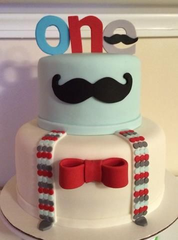 boys first birthday party mustache theme cake