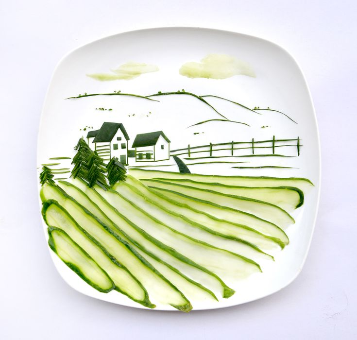 Cucumber Landscape by ohiseered: Made from a single cuke! #Food_Art #Cucumber
