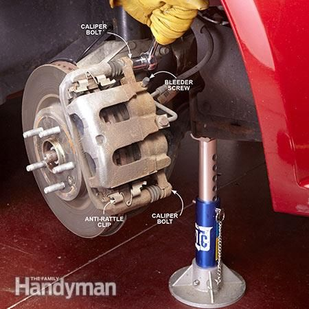 Start the front brake replacement by removing the caliper. How to Change Front Brake Pads: http://www.familyhandyman.com/automotive/car-brakes/how-to-change-front-brake-pads/view-all