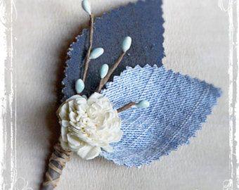 Casual Denim Boutonniere - Blue Jeans - Wedding Lapel Pin - Groom, Groomsmen - Spring Summer Picnic Cowboy Country Western Weddings