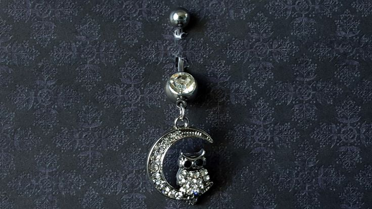 Crescent Moon Owl Dangle Belly Ring (14G)