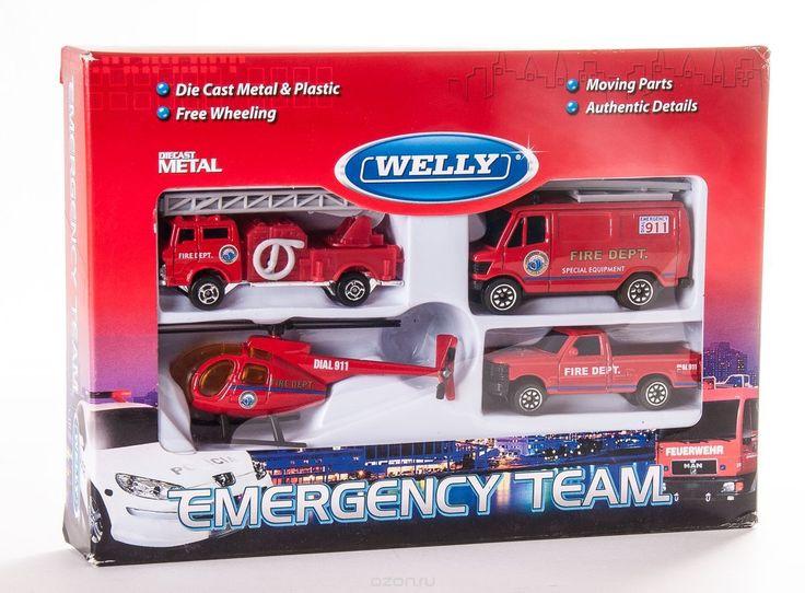 Welly Игровой набор Служба спасения: Пожарная команда, 4 предмета