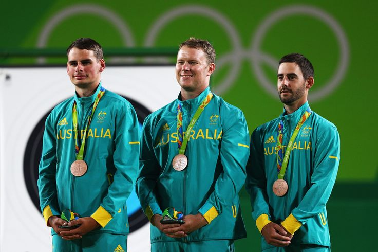 ARCHERY MEN'S TEAM COMPETITION: Bronze medalists Team Australia - Alec Potts, Ryan Tyack and Taylor Worth