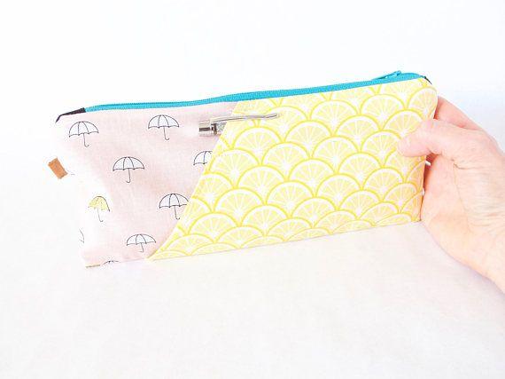 UMBRELLAS & LEMONS. Pink Pencil Pouch. Gold Umbrella Pouch.